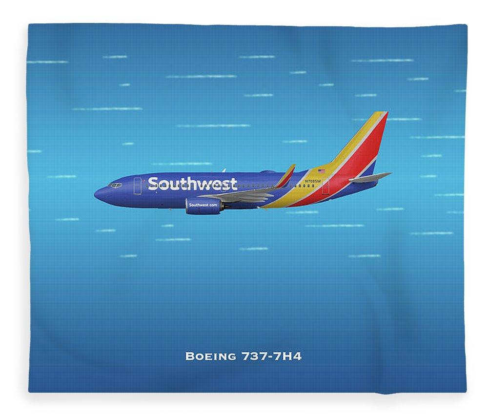 Southwest Fleece Blanket featuring the digital art Southwest Boeing 737-7h4 by J Biggadike