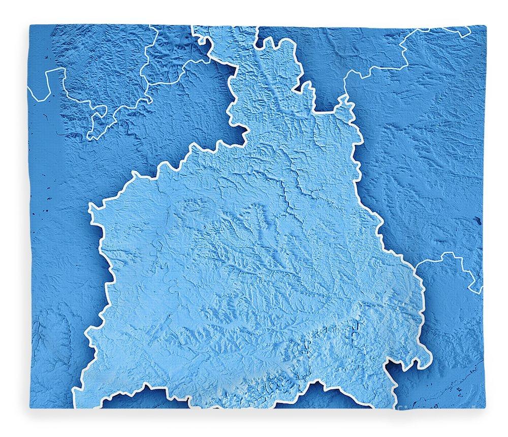 Stuttgart Fleece Blanket featuring the digital art Stuttgart Administrative Region Baden-wurttemberg 3d Render Top by Frank Ramspott