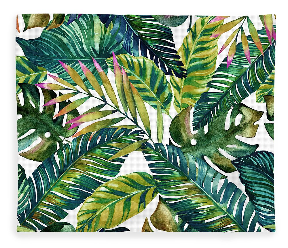 Summer Fleece Blanket featuring the digital art Tropical by Mark Ashkenazi
