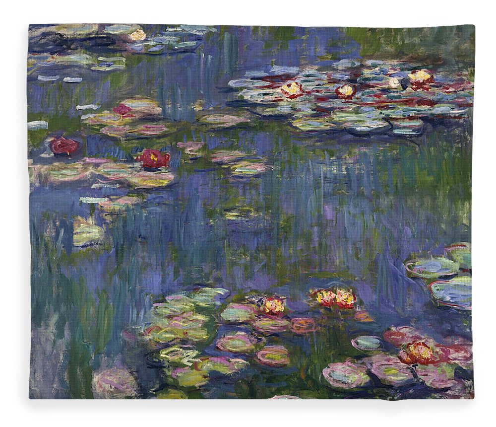 Monet Fleece Blanket featuring the painting Water Lilies, 1916 by Claude Monet
