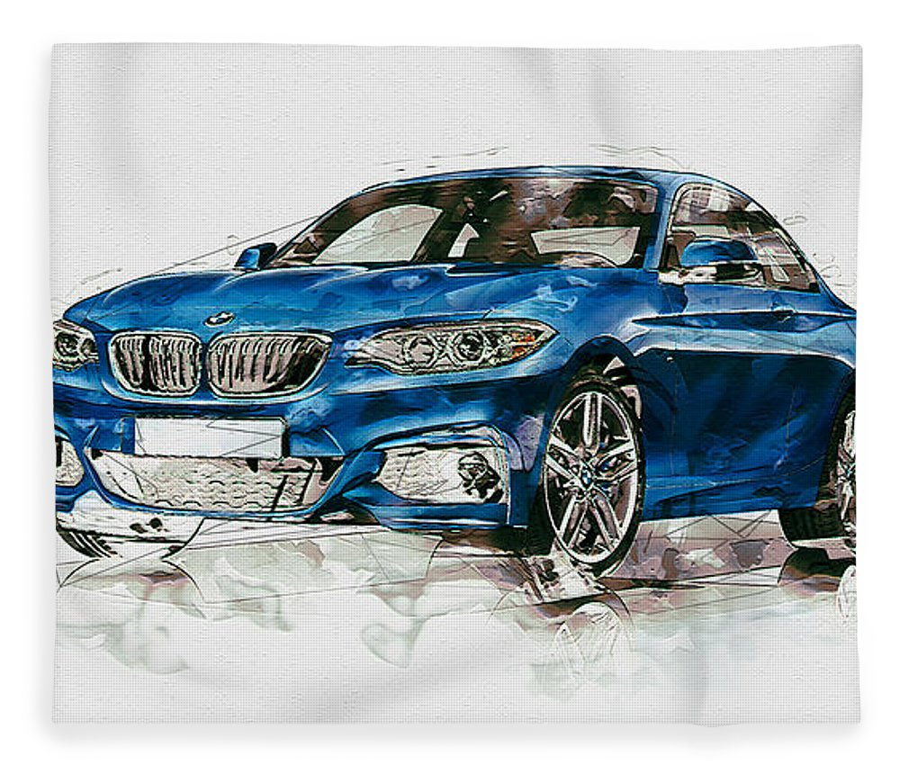 Wheels Of Fortune By Serge Averbukh Fleece Blanket featuring the photograph 2014 B M W 2 Series Coupe With 3d Badge by Serge Averbukh