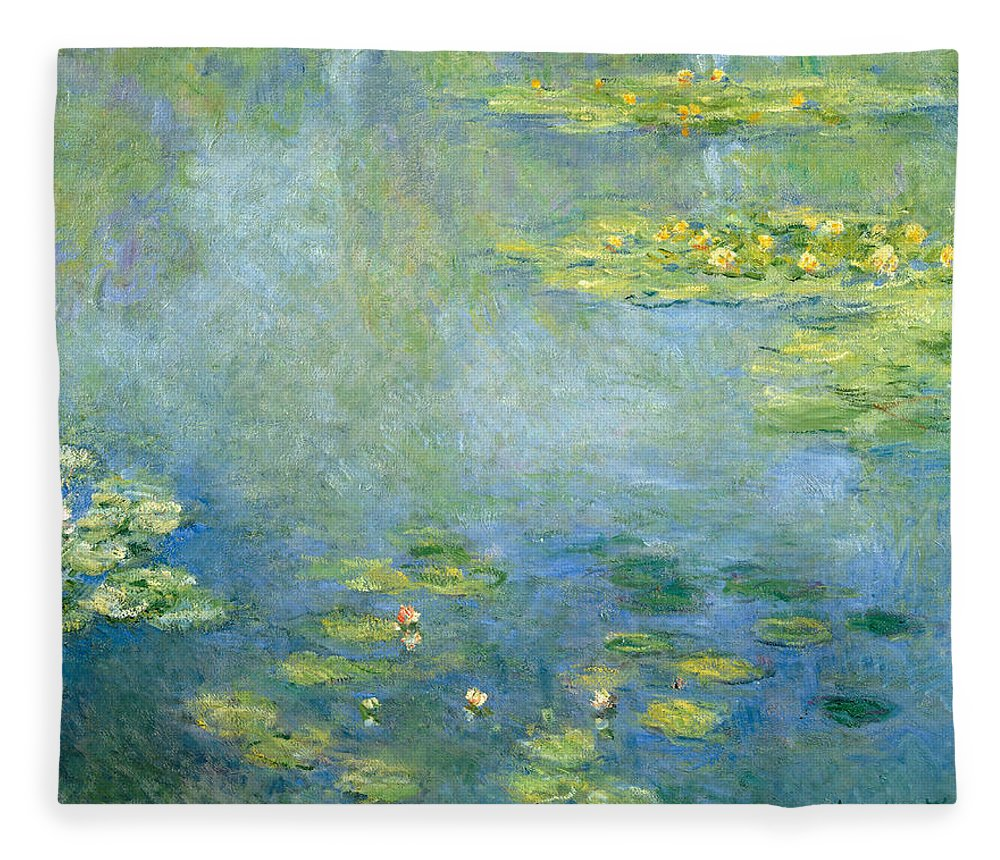 Claude Monet Fleece Blanket featuring the painting Waterlilies by Claude Monet