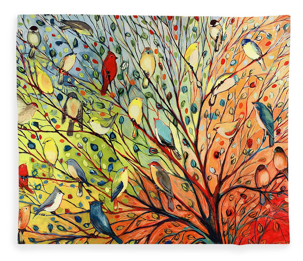 Bird Fleece Blanket featuring the painting 27 Birds by Jennifer Lommers