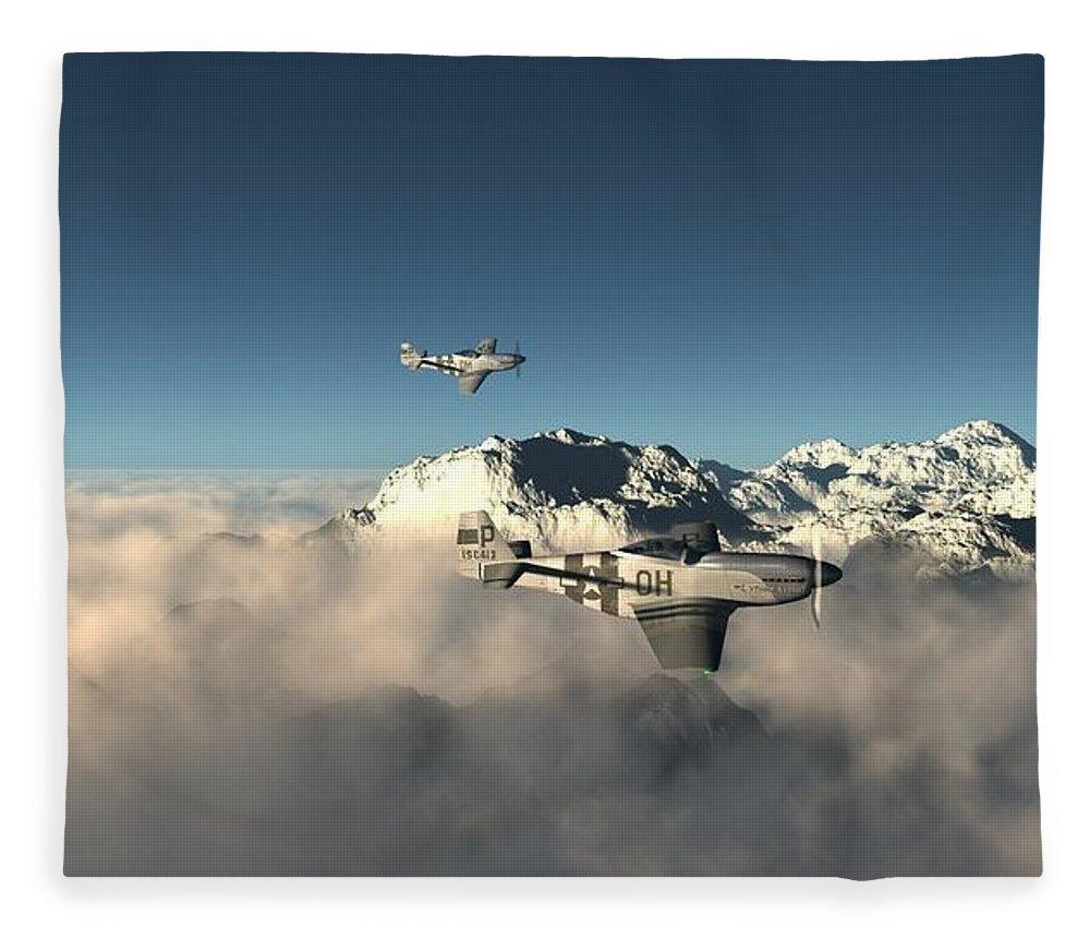 Aircraft Fleece Blanket featuring the digital art Aircraft by Dorothy Binder