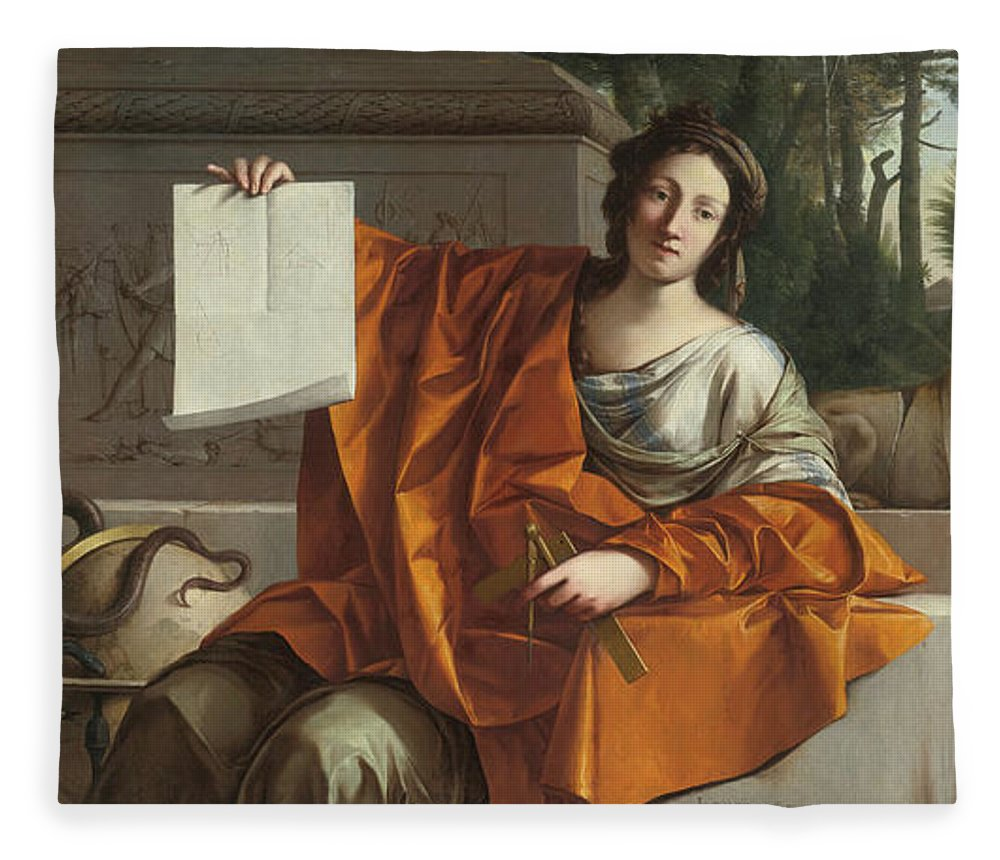 Laurent De La Hyre (french Fleece Blanket featuring the painting Allegory Of Geometry by MotionAge Designs