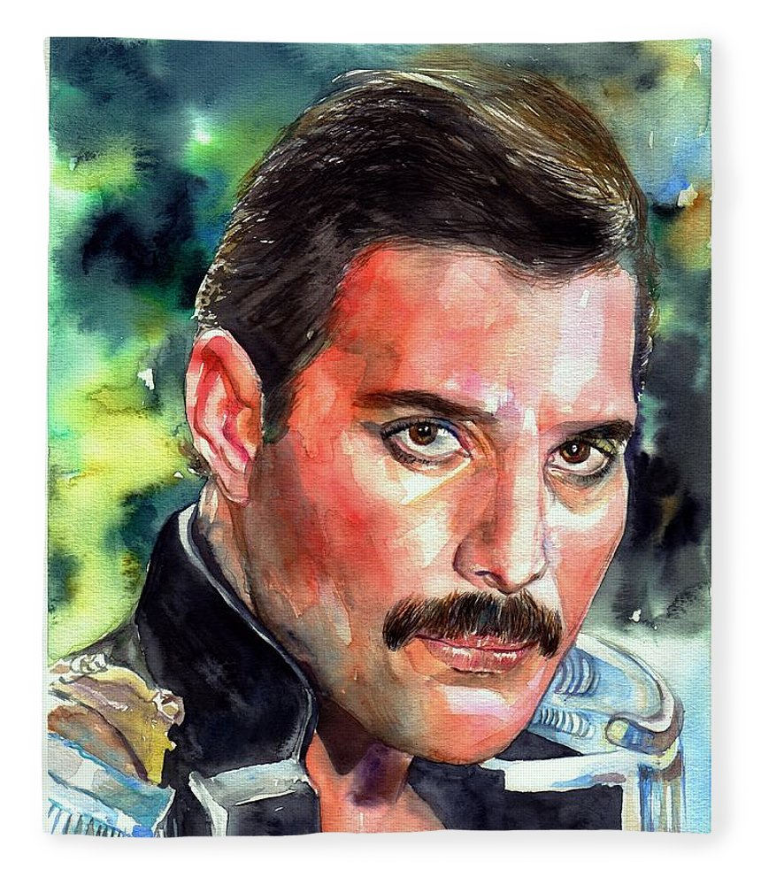 Freddie Fleece Blanket featuring the painting Freddie Mercury portrait by Suzann Sines