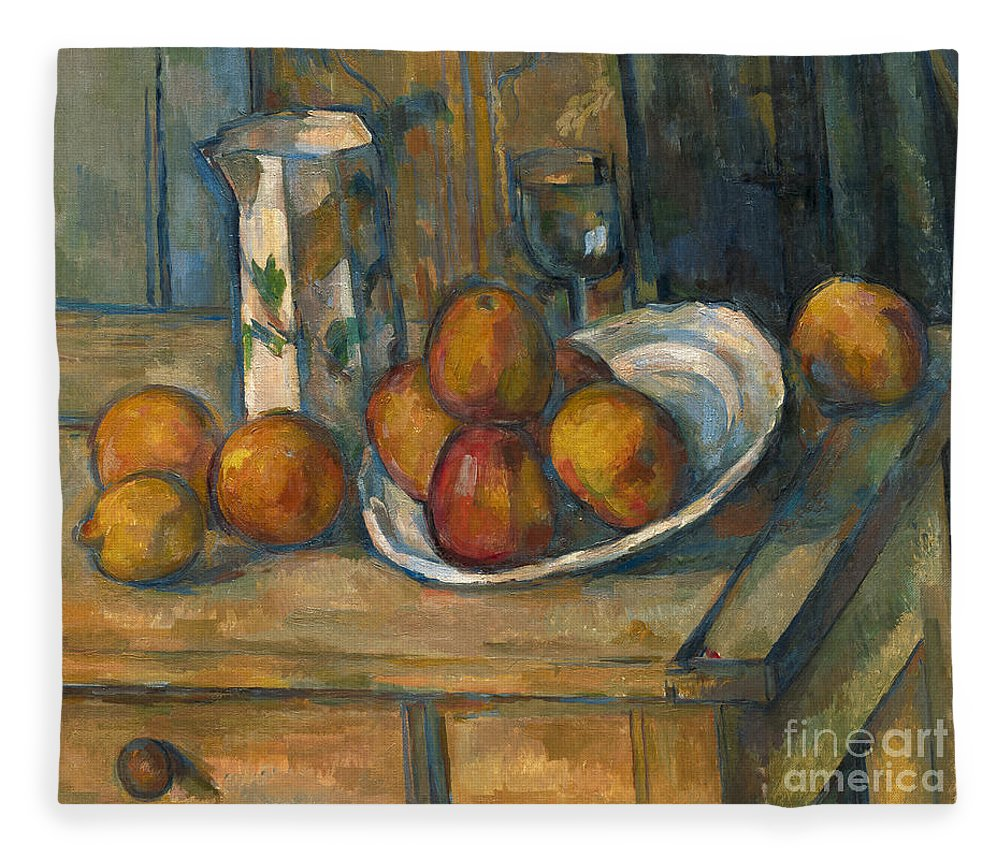 Cezanne Fleece Blanket featuring the painting Still Life With Milk Jug And Fruit by Paul Cezanne