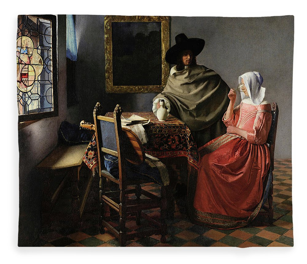 The Glass Of Wine Fleece Blanket featuring the painting The Glass Of Wine by Johannes Vermeer