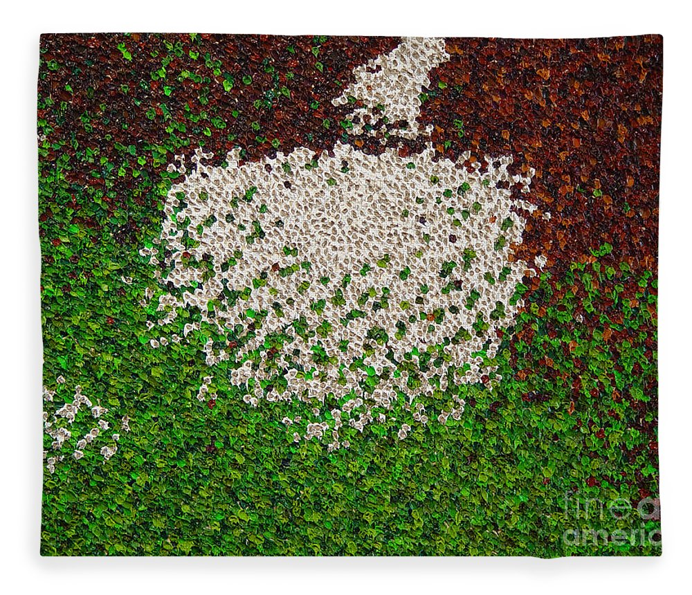 Abstract Fleece Blanket featuring the painting Soft Green with Brown, Buff and White by Dean Triolo