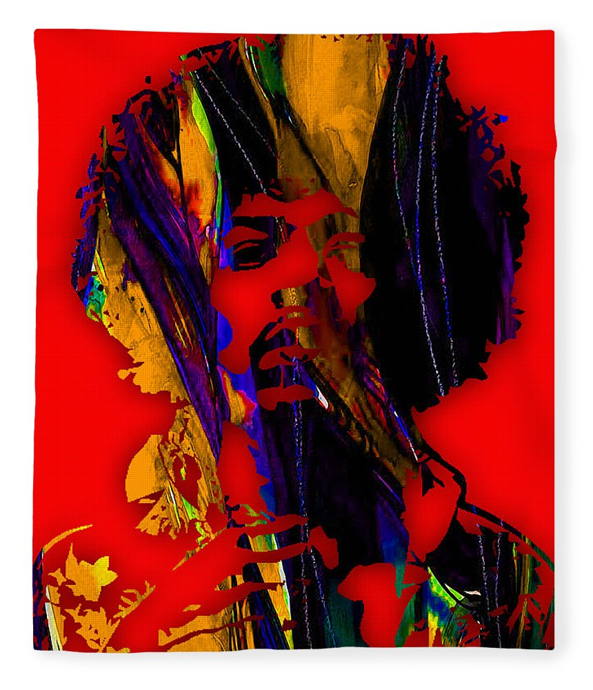 Jimi Hendrix Fleece Blanket featuring the mixed media Jimi Hendrix Collection by Marvin Blaine