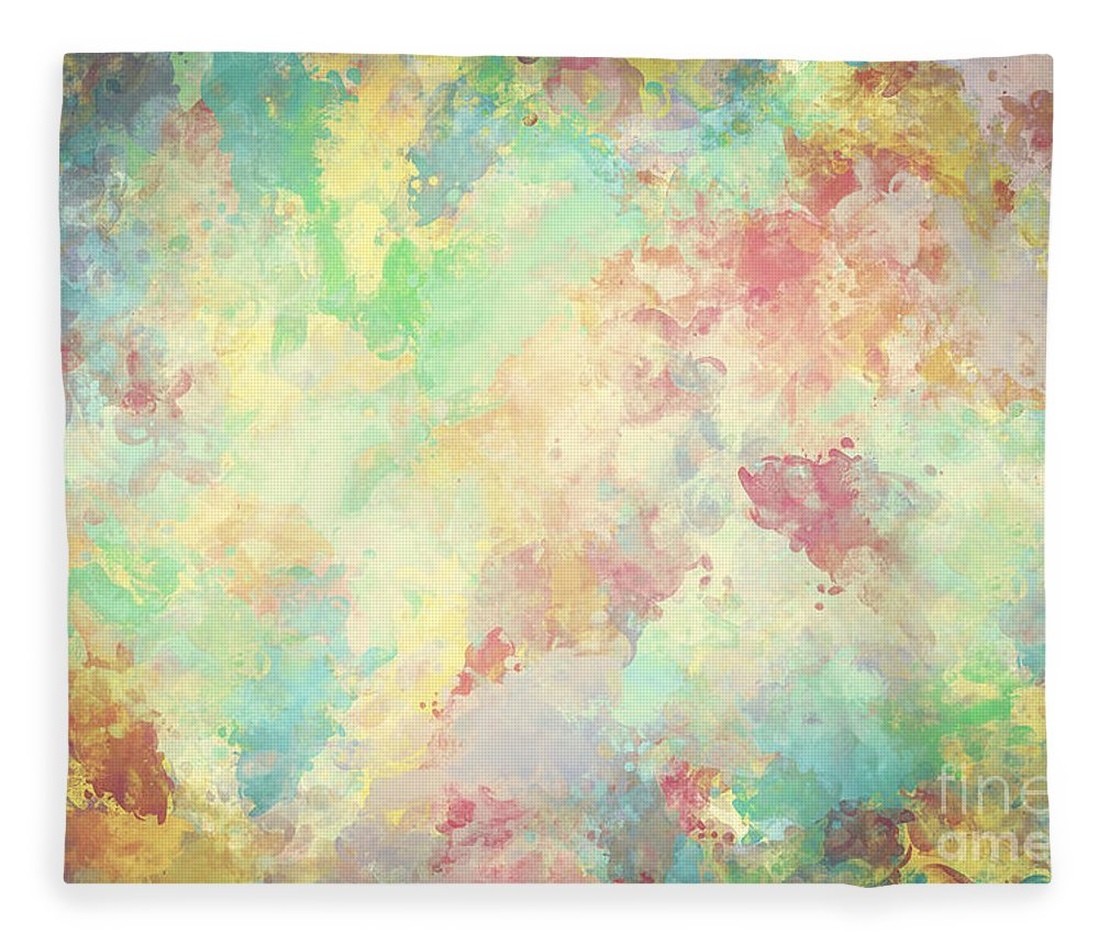 Watercolor Fleece Blanket Featuring The Photograph Colorful Paint On Canvas Super High Resolution And