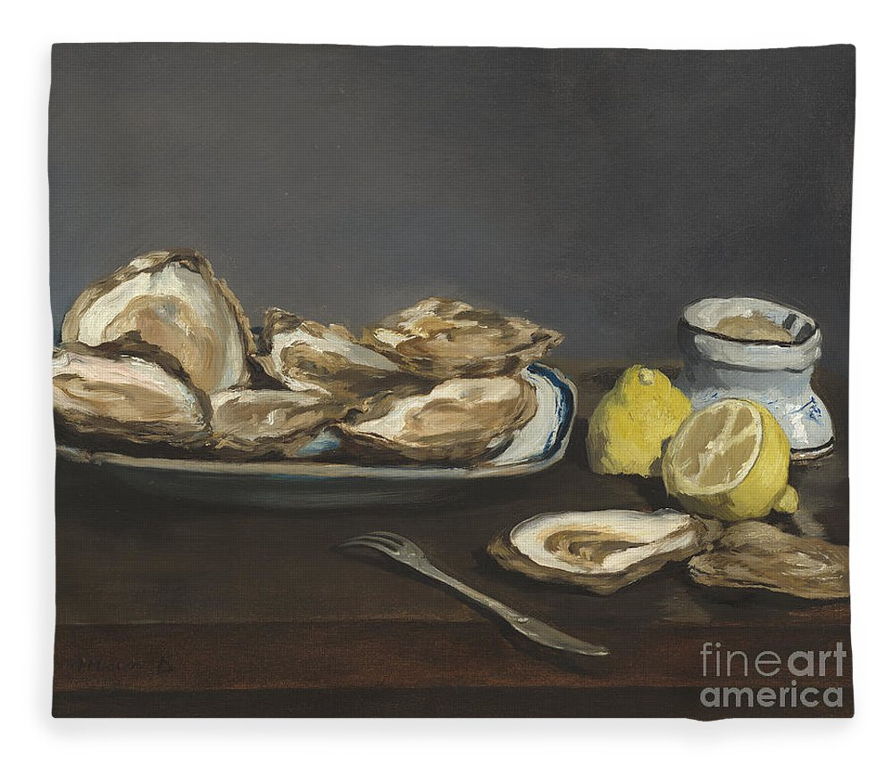 Oysters Fleece Blanket featuring the painting Oysters by Edouard Manet