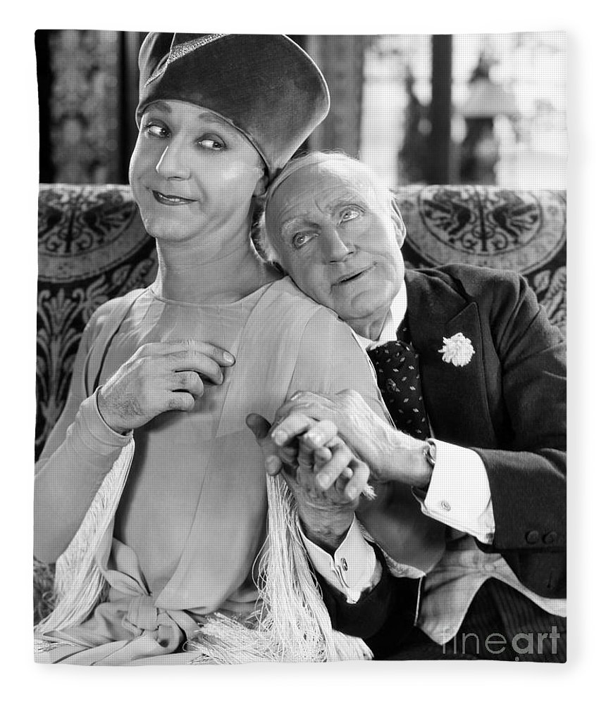 -couples- Fleece Blanket featuring the photograph Silent Film Still: Couples by Granger