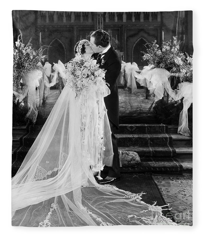 -weddings & Gowns- Fleece Blanket featuring the photograph Silent Film Still: Wedding by Granger