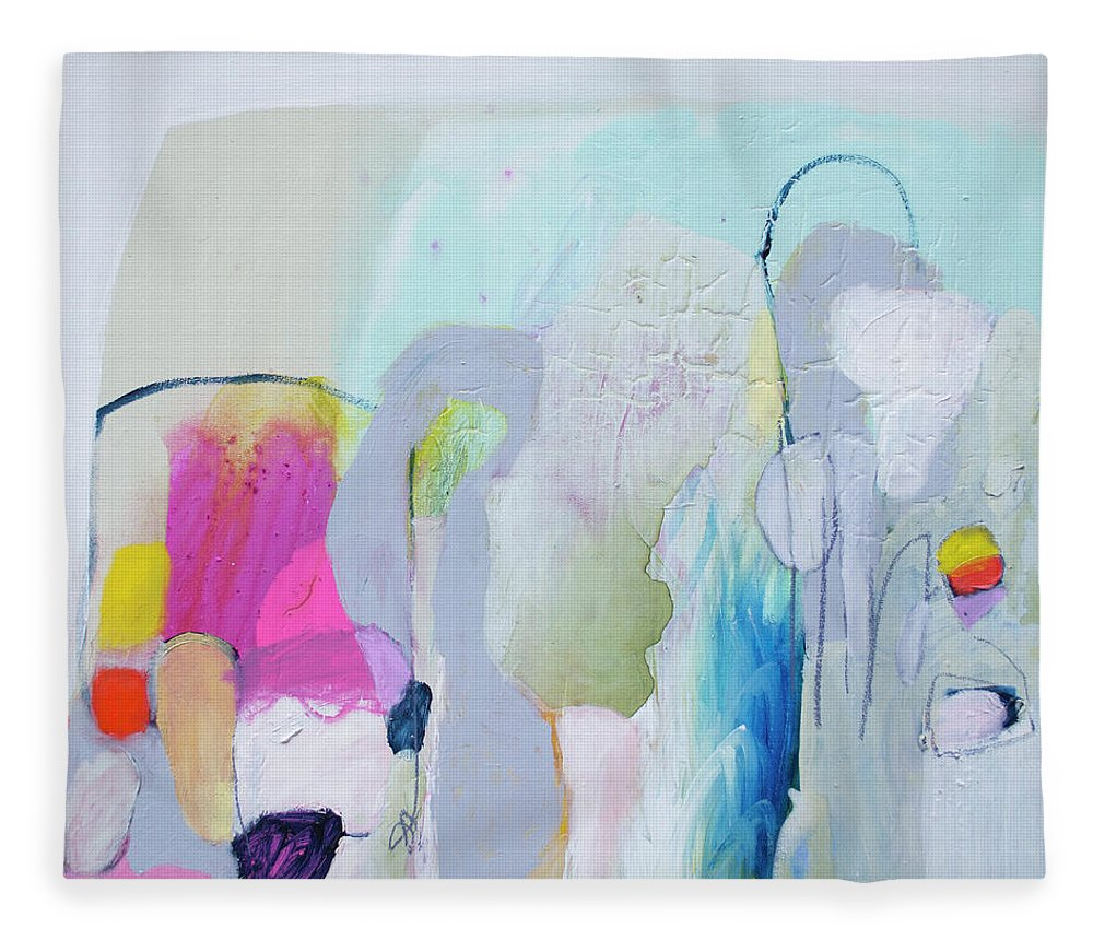 Abstract Fleece Blanket featuring the painting 4 Years Ago by Claire Desjardins