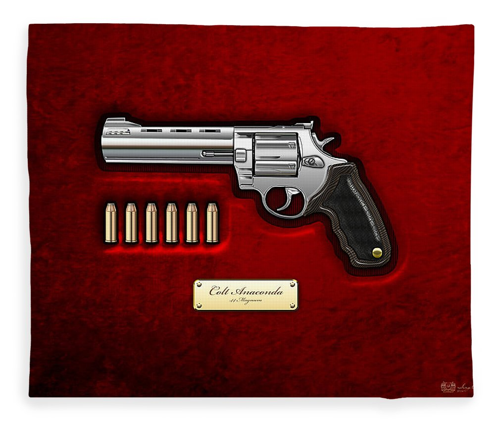 The Armory By Serge Averbukh Fleece Blanket featuring the photograph .44 Magnum Colt Anaconda On Red Velvet by Serge Averbukh