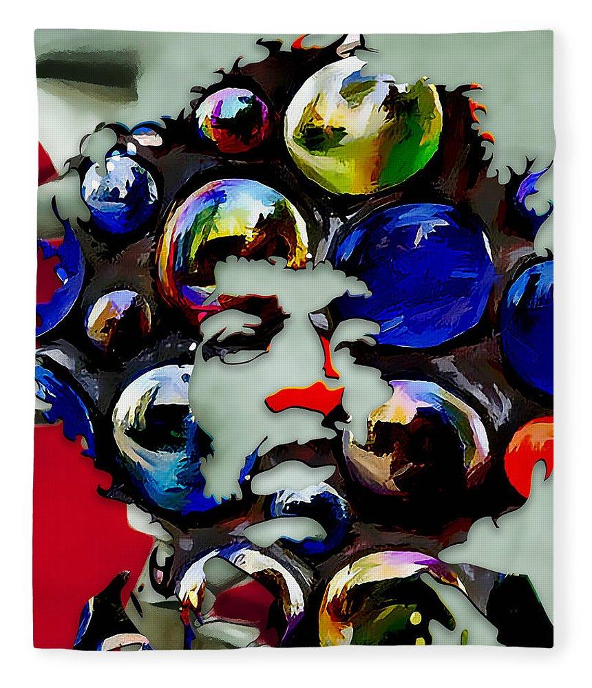 Jimi Hendrix Fleece Blanket featuring the digital art Jimi Hendrix by Love Art