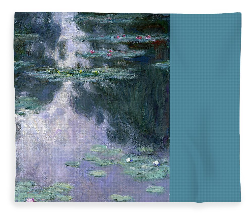Nympheas Fleece Blanket featuring the painting Waterlilies 24 by Claude Monet