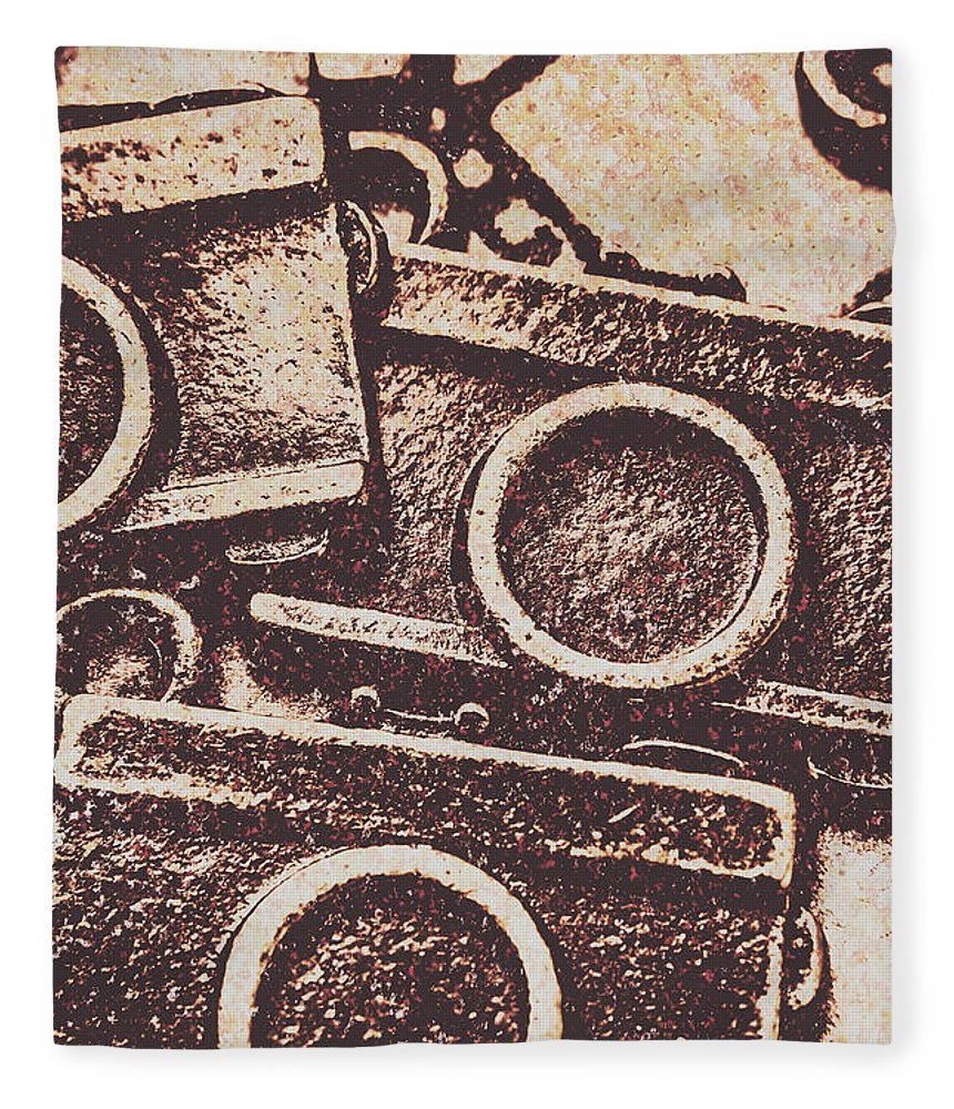 Background Fleece Blanket featuring the photograph 50s Brownie Cameras by Jorgo Photography - Wall Art Gallery