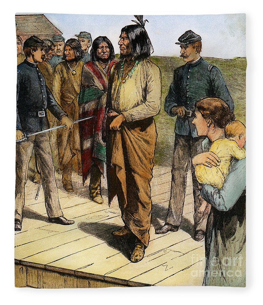 1907 Fleece Blanket featuring the photograph Geronimo 1829-1909. by Granger