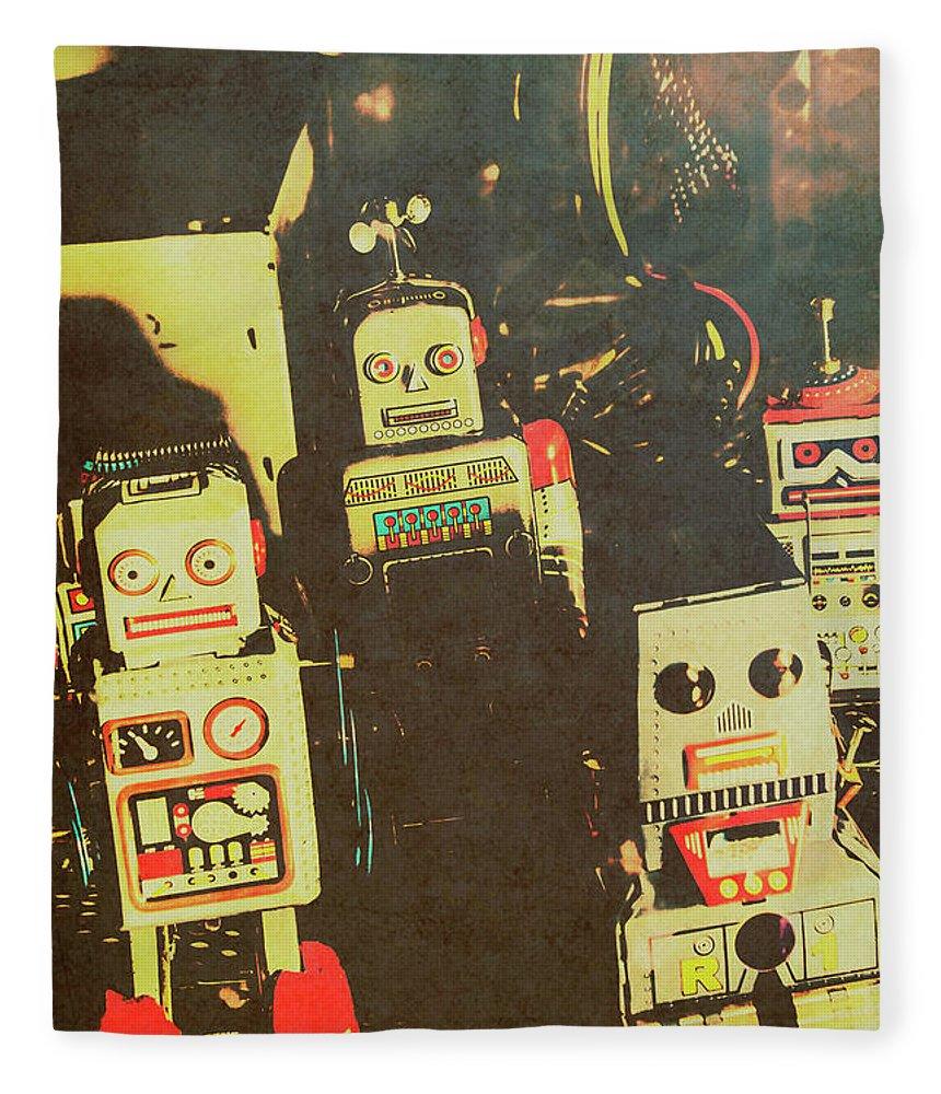 Cyborg Fleece Blanket featuring the photograph 60s Cartoon Character Robots by Jorgo Photography - Wall Art Gallery