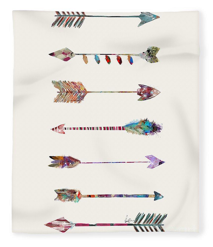 Arrows Fleece Blanket featuring the painting 7 Arrows by Bri Buckley