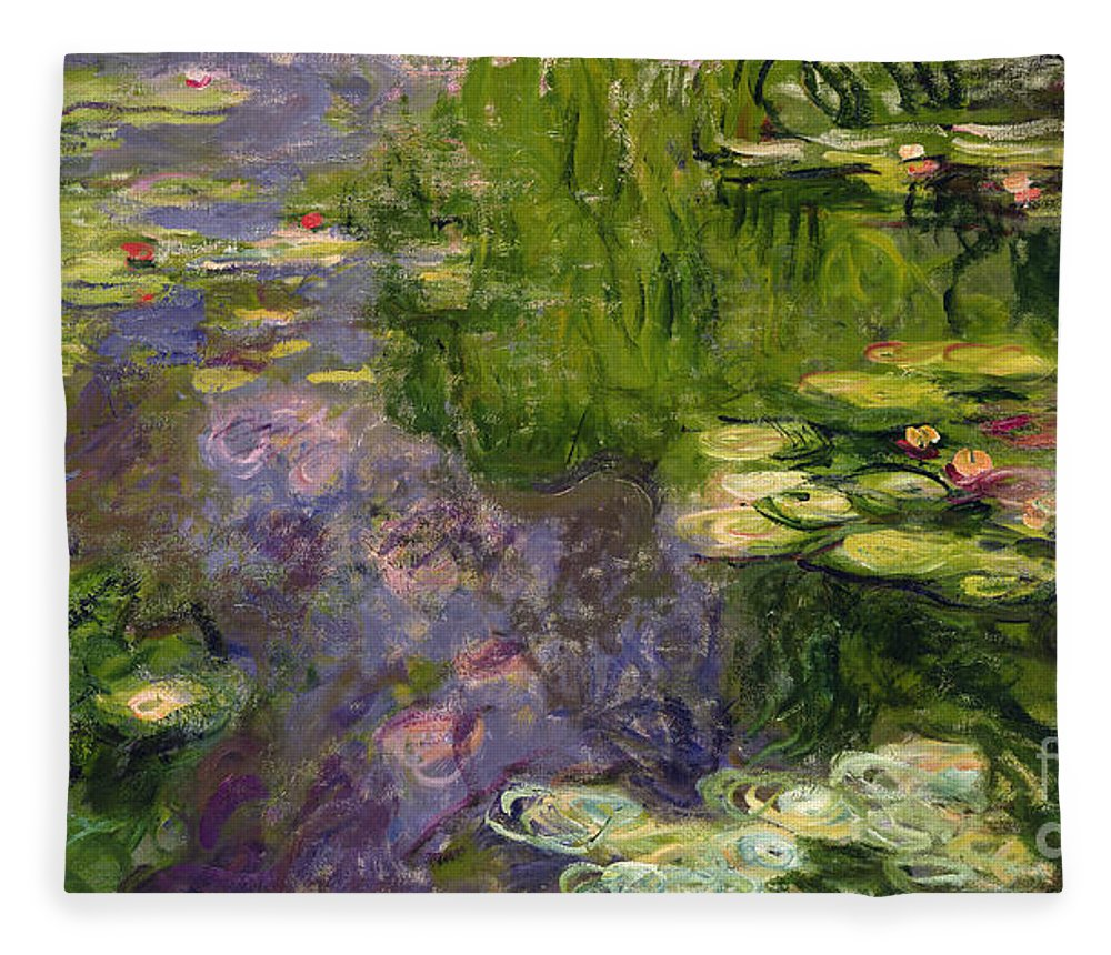 Nympheas; Water; Lily; Waterlily; Impressionist; Green; Purple Fleece Blanket featuring the painting Waterlilies by Claude Monet