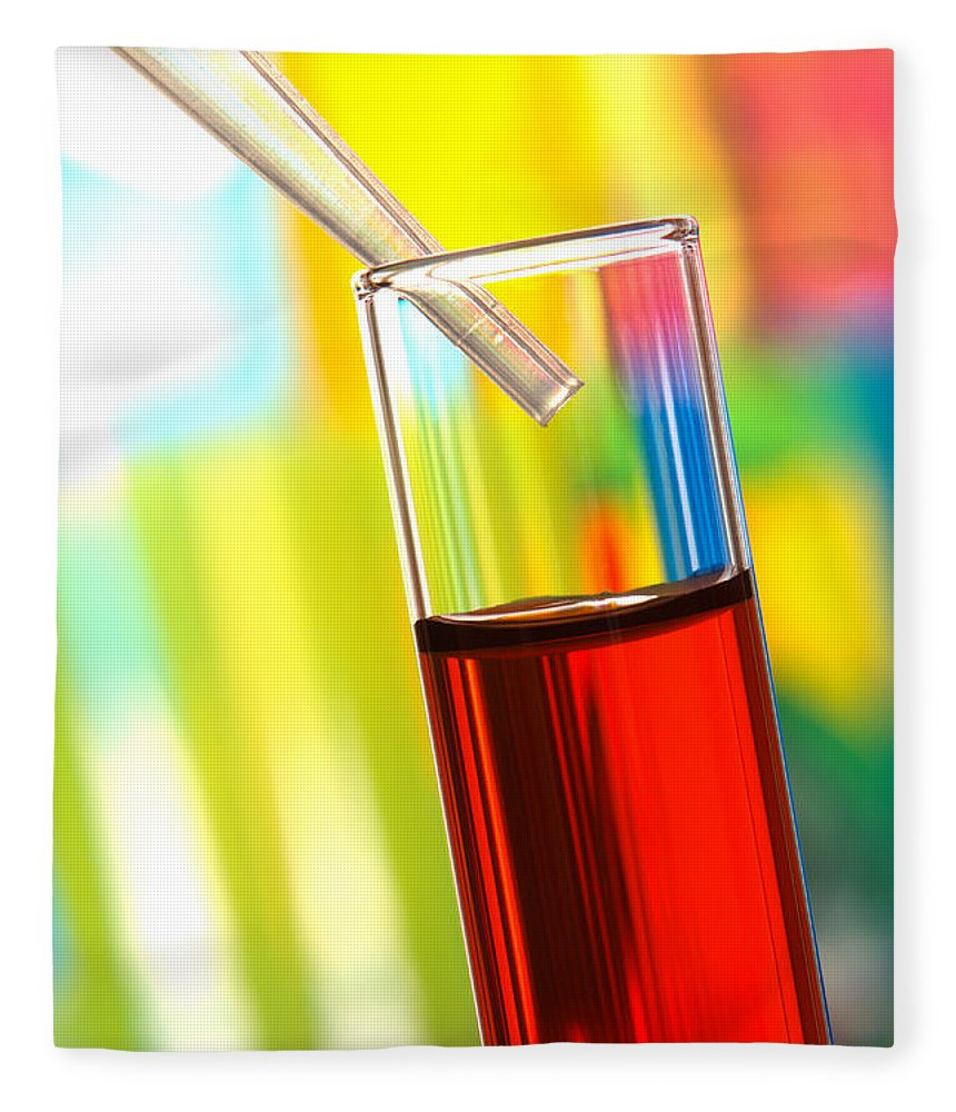 Blood Fleece Blanket featuring the photograph Laboratory Experiment In Science Research Lab by Olivier Le Queinec