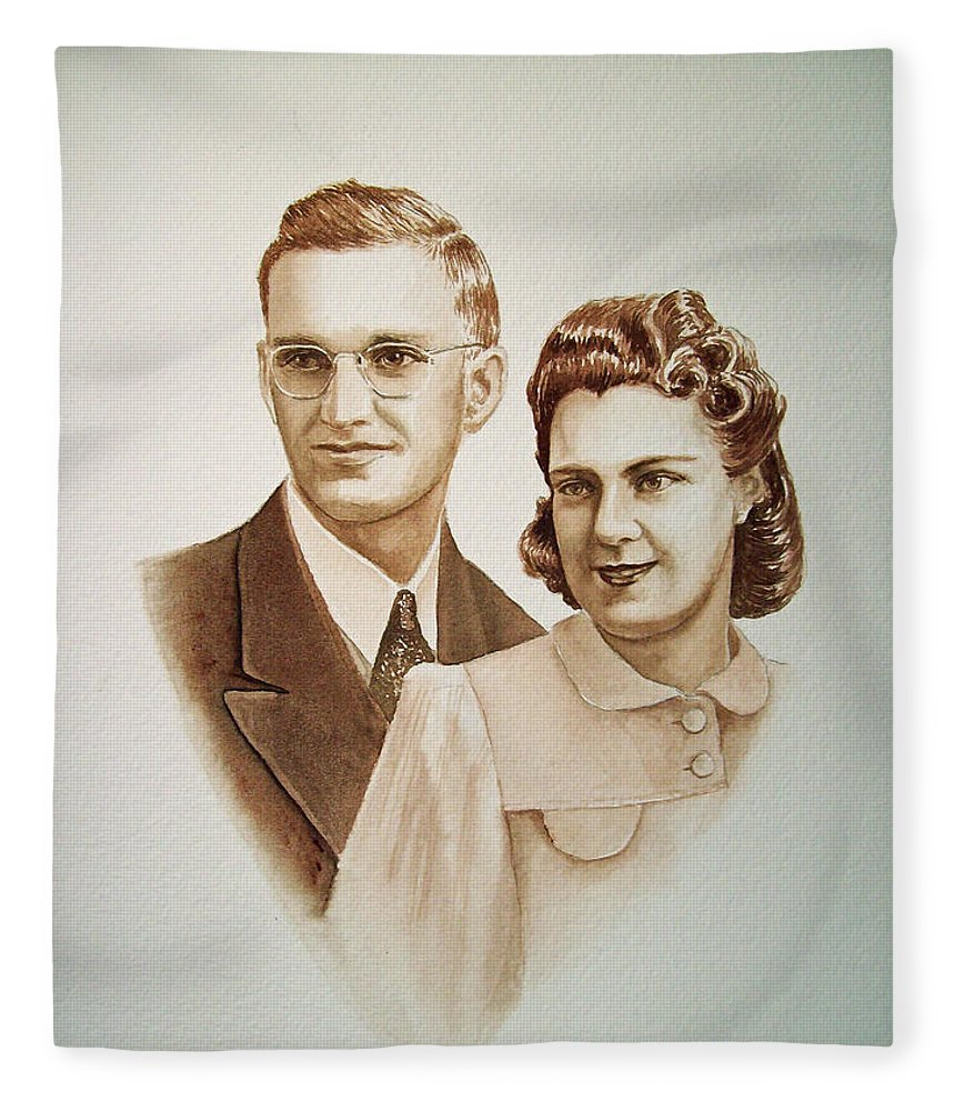 Anniversary Fleece Blanket featuring the painting 70 Years Together by Irina Sztukowski