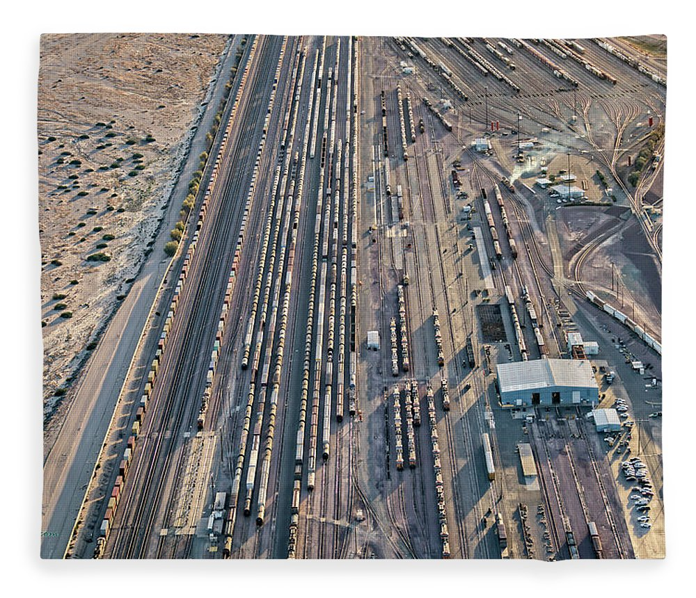 Barstow Rail Yard 2 Fleece Blanket For Sale By Jim Thompson