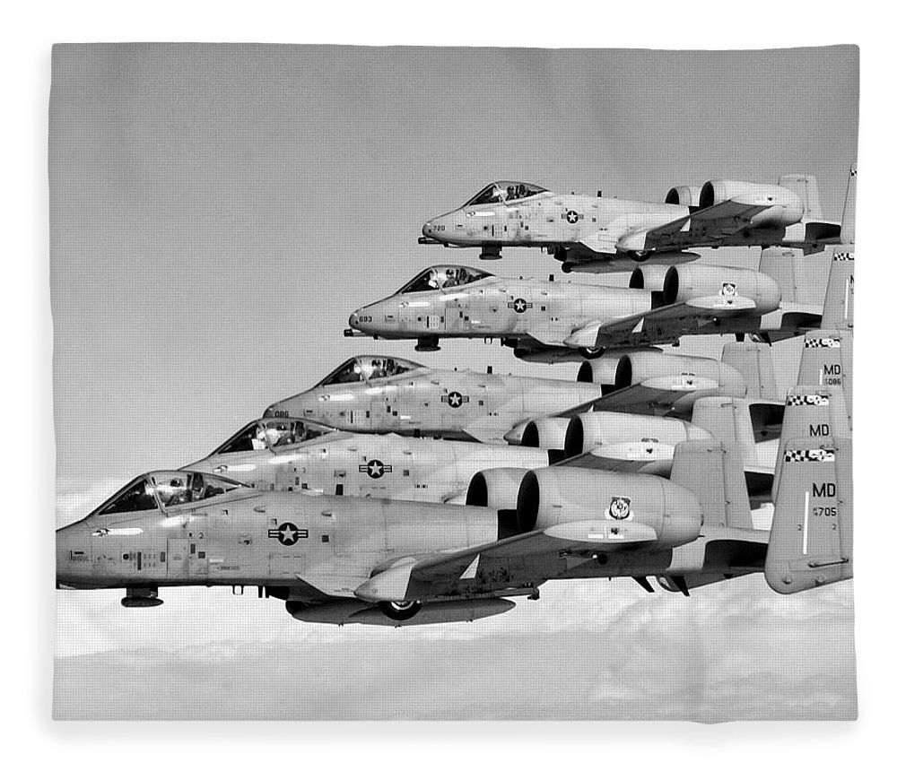 A 10 Fleece Blanket featuring the photograph A-10 Warthogs Flying In Formation by War Is Hell Store