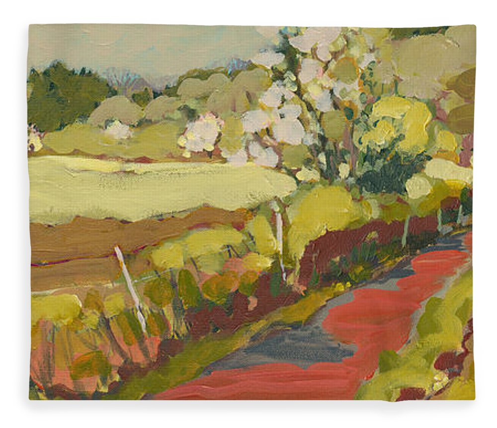 Landscape Fleece Blanket featuring the painting A Bend in the Road by Jennifer Lommers