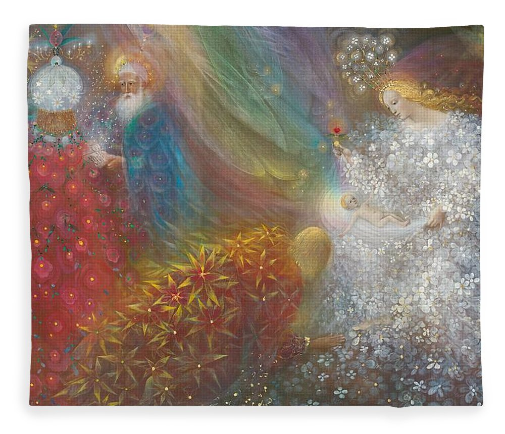 Nativity Fleece Blanket featuring the painting A Child Is Born by Annael Anelia Pavlova