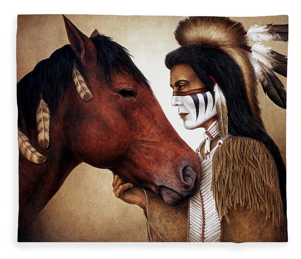 Horse Fleece Blanket featuring the painting A Conversation by Pat Erickson
