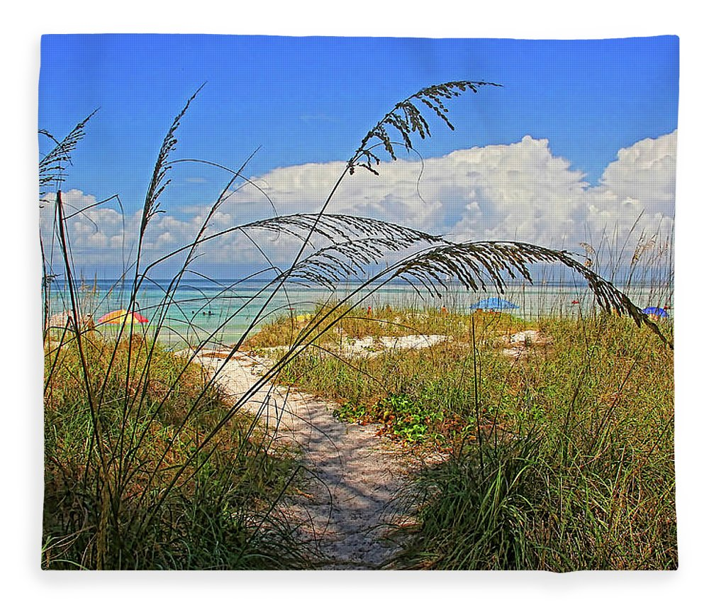 Anna Maria Island Florida Fleece Blanket featuring the photograph A Day At The Beach by HH Photography of Florida