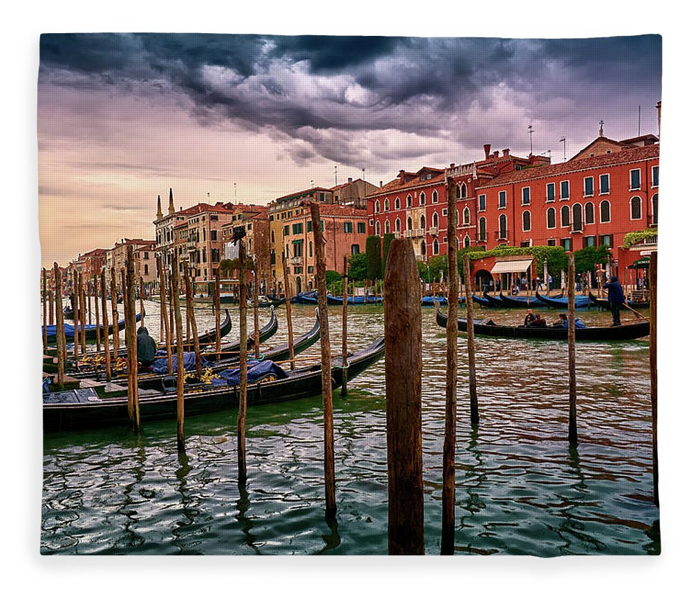 Europe Fleece Blanket featuring the photograph Surreal Seascape On The Grand Canal In Venice, Italy by Fine Art Photography Prints By Eduardo Accorinti