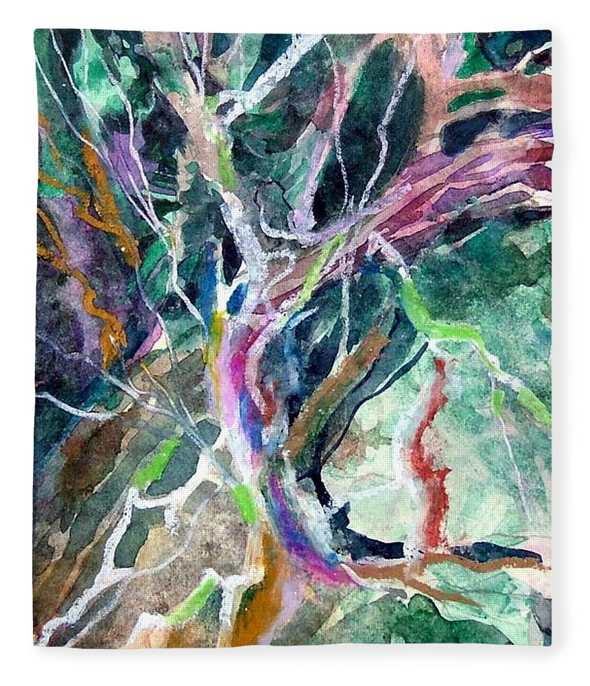 Tree Fleece Blanket featuring the painting A Dying Tree by Mindy Newman