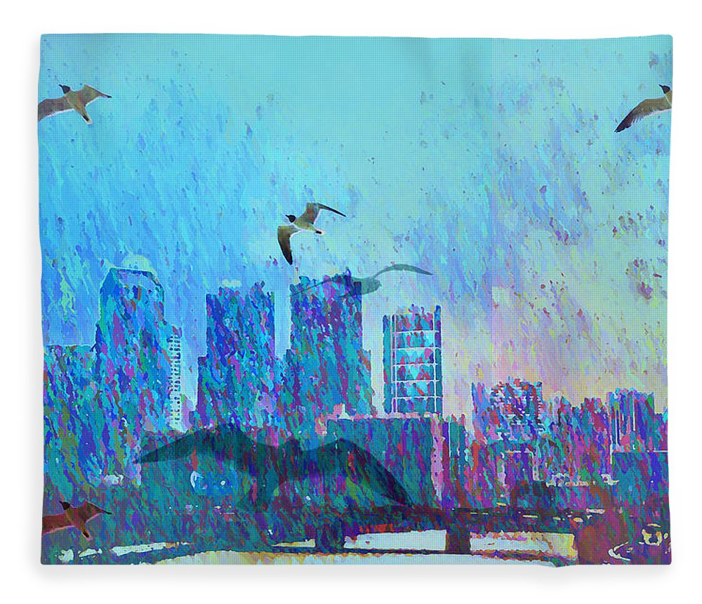 Seagulls Fleece Blanket featuring the photograph A Flock Of Seagulls by Bill Cannon