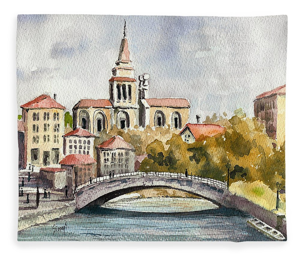 River Fleece Blanket featuring the painting A German Memory by Sam Sidders