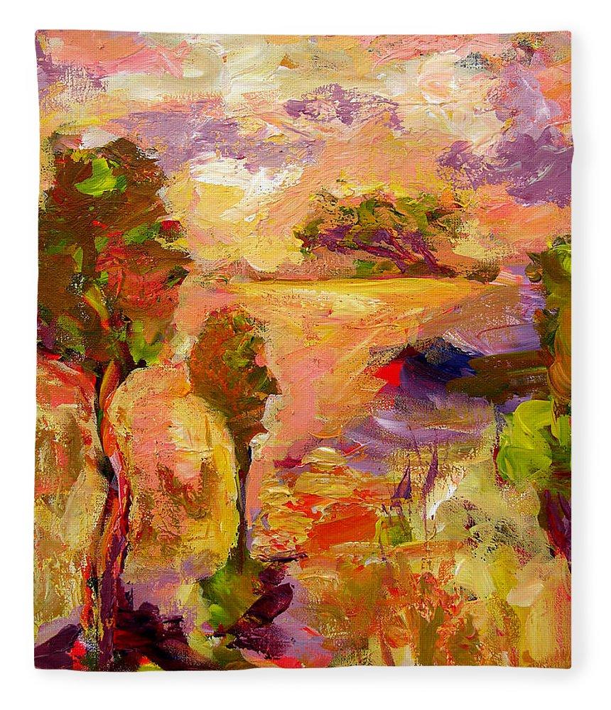 Abstract Paintings Fleece Blanket featuring the painting A Joyous Landscape by Julianne Felton
