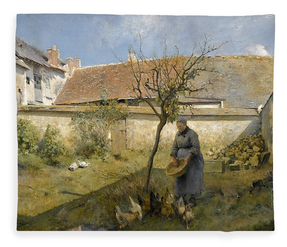 Carl Larsson Fleece Blanket featuring the painting A La Campagne by Carl Larsson