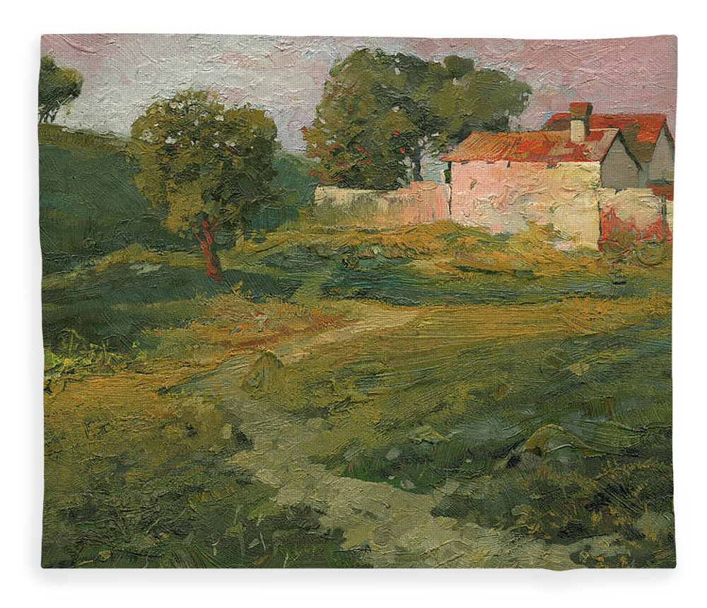 Sunset Fleece Blanket featuring the painting A Landscape In Vicinity Of Strijigorod by Denis Chernov