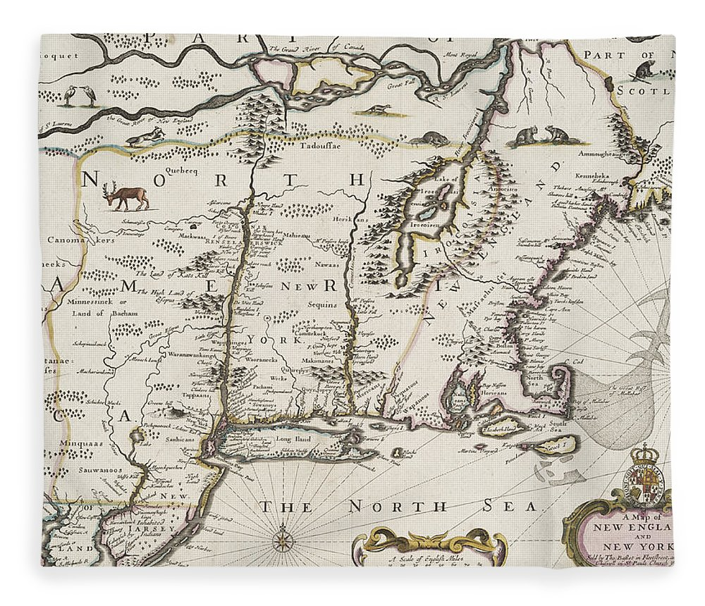 Map Fleece Blanket featuring the drawing A Map Of New England And New York by John Speed