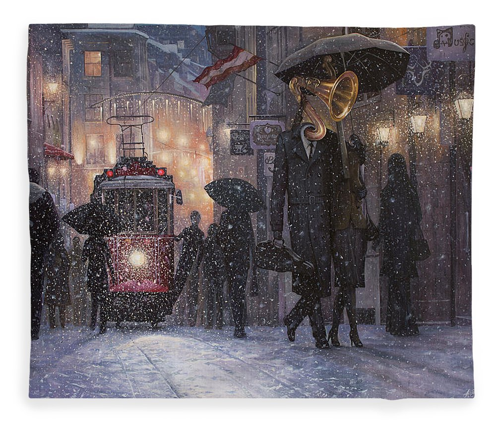 Music Fleece Blanket featuring the painting A Midwinter Night's Dream by Adrian Borda