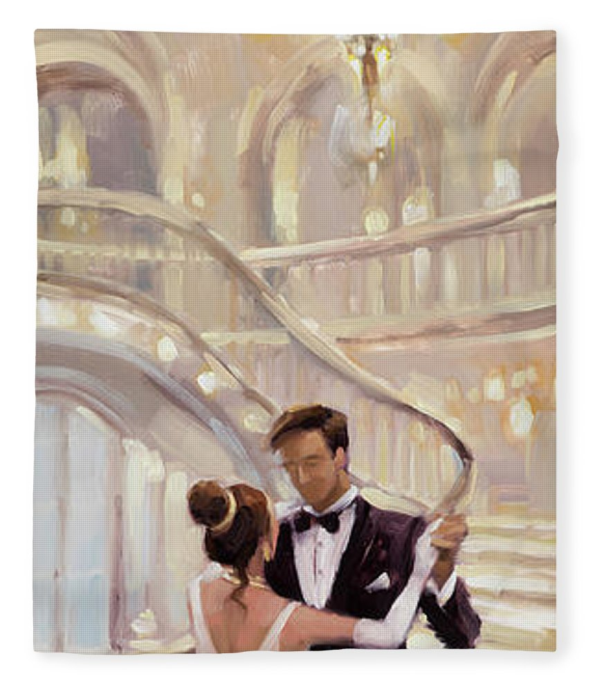 Romance Fleece Blanket featuring the painting A Moment in Time by Steve Henderson