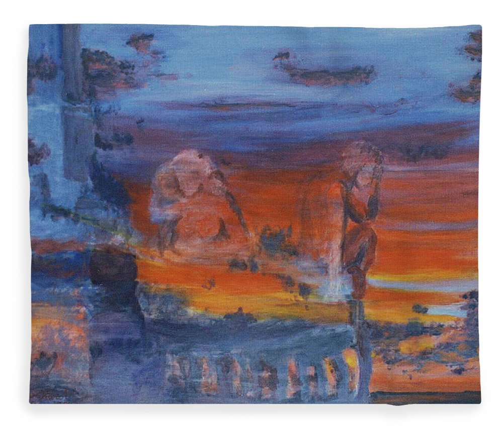Abstract Fleece Blanket featuring the painting A Mystery Of Gods by Steve Karol