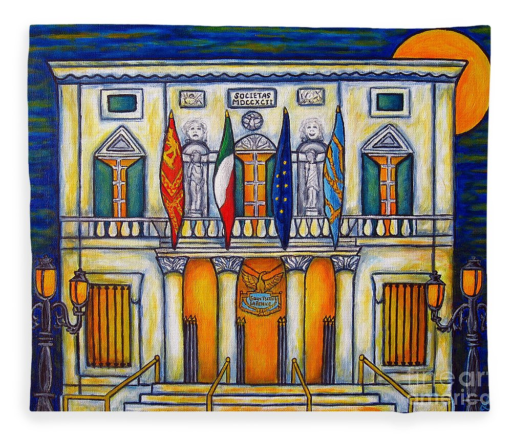 Theatre Fleece Blanket featuring the painting A Night at the Fenice by Lisa Lorenz