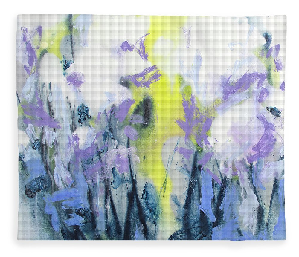 Abstract Fleece Blanket featuring the painting A Patch Of Purple by Claire Desjardins