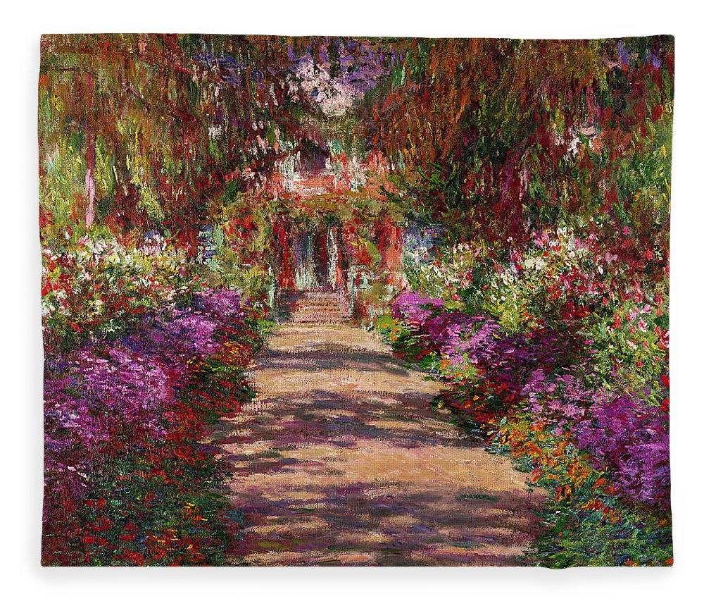 Pathway Fleece Blanket featuring the painting A Pathway In Monets Garden Giverny by Claude Monet