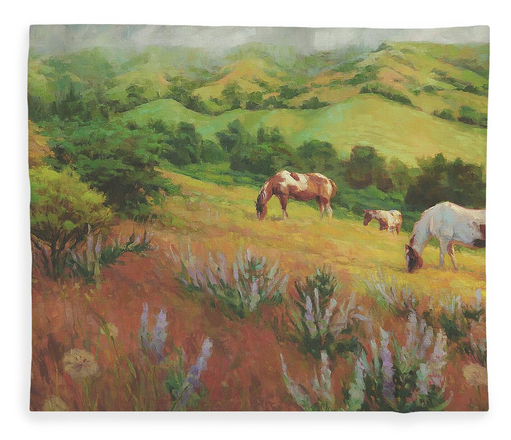 Horse Fleece Blanket featuring the painting A Peaceful Nibble by Steve Henderson